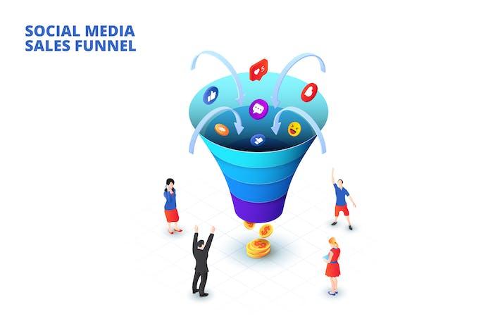 Концепция воронки продаж изометрических социальных сетей