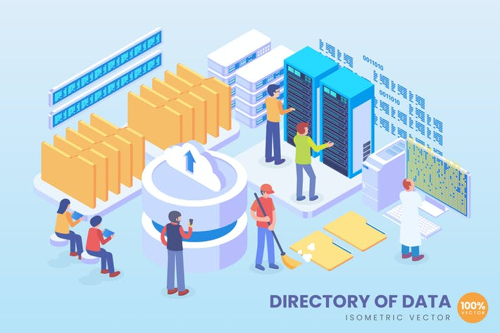 Thumbnail for Isometric Directory Of Data Technology Vector