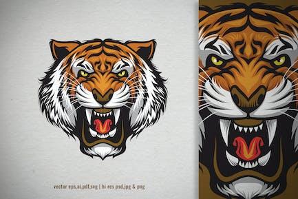 wütend brüllenden Kopf des Tigers