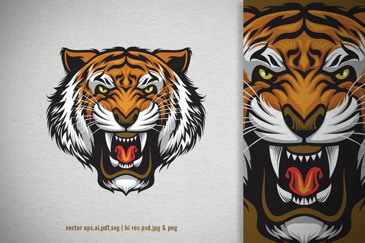 Thumbnail for angry roaring head of tiger