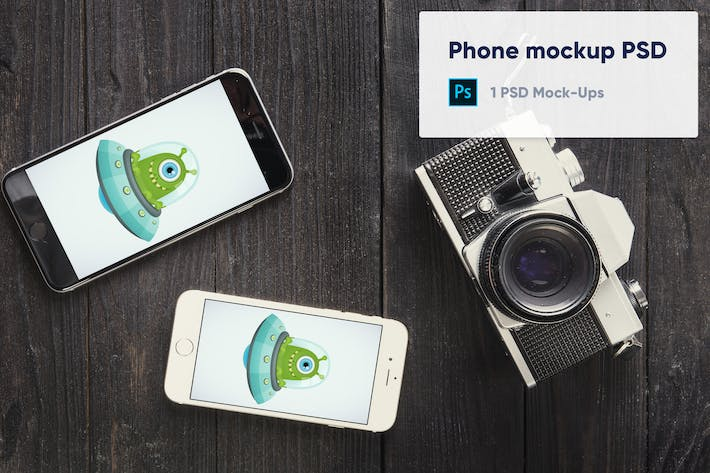 Thumbnail for Two phones and old camera mockup psd