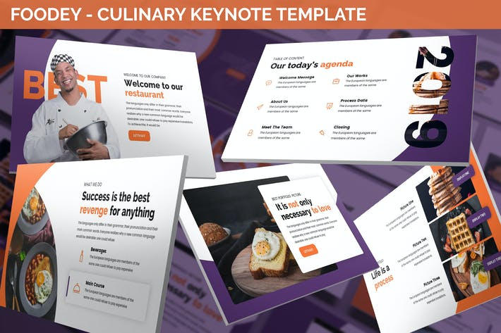 Thumbnail for Foodey - Culinary Keynote Template
