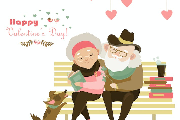 Thumbnail for Old couple in love sitting on bench