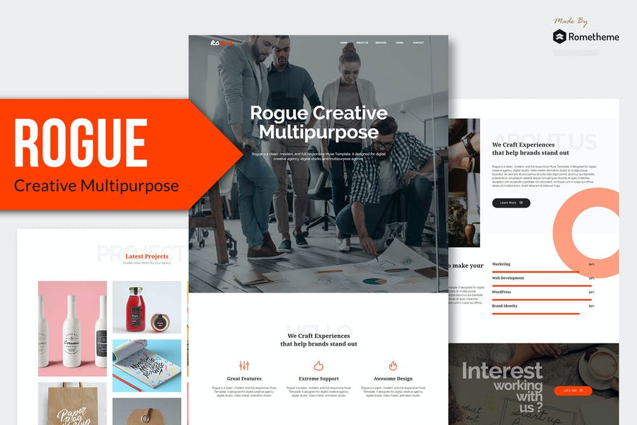 ROGUE - Творческий многоцелевой MUSE Шаблон YR