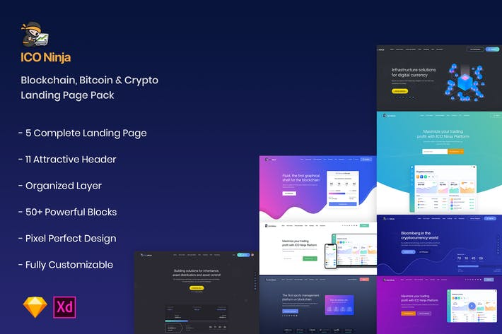Thumbnail for Blockchain, Crypto & Bitcoin Landing Page Pack