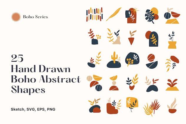 25 Hand Drawn Abstract Boho Shapes vol 5