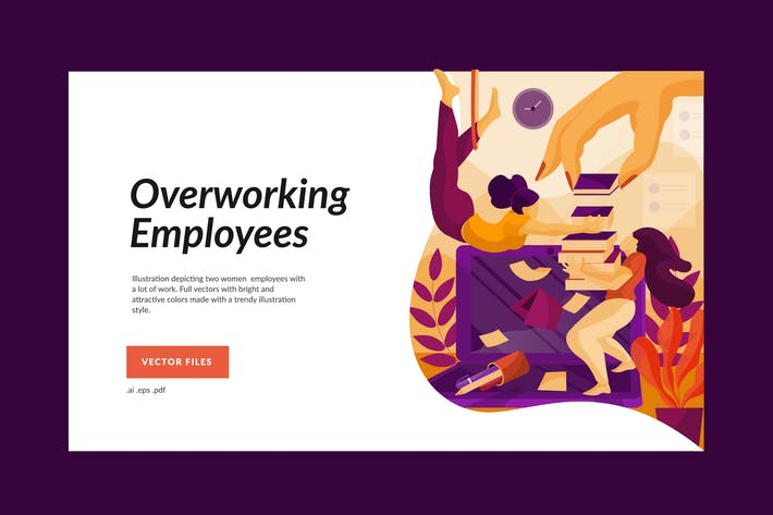 Thumbnail for Overworking Female Employees Illustration