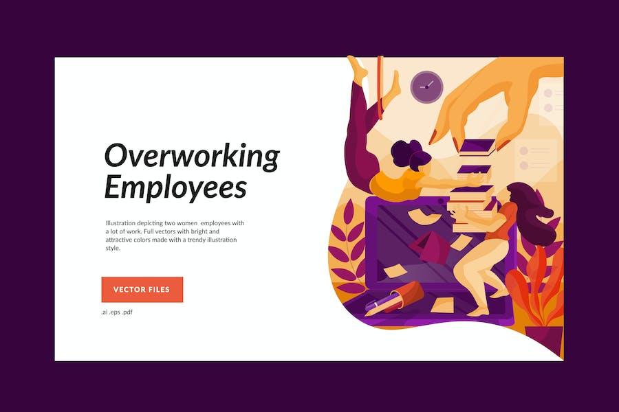 Overworking Female Employees Illustration