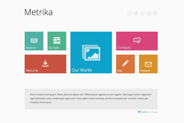 Cover Image For Metrika — Responsive OnePage Template