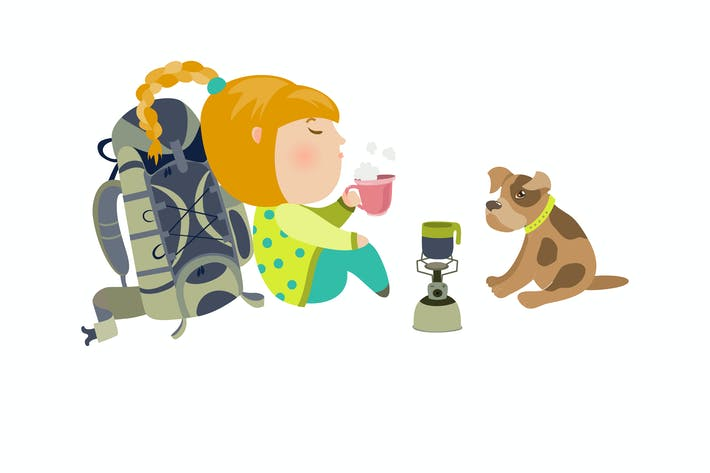 Camping girl drinks tea. Vector