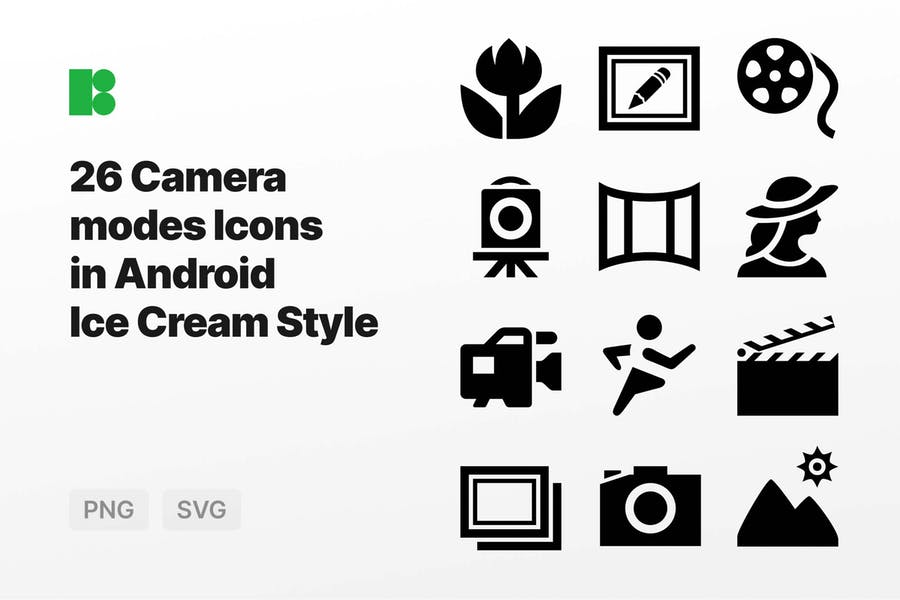 Camera modes Icons in Android Ice Cream Style