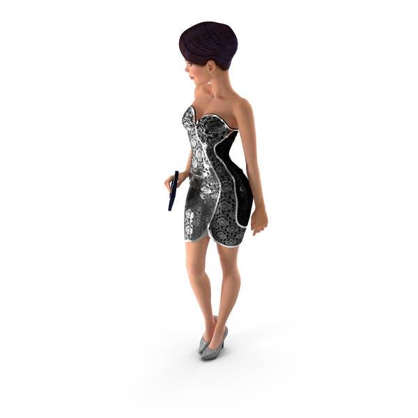 Мультфильм Молодая девушка партии одежда стоя поз