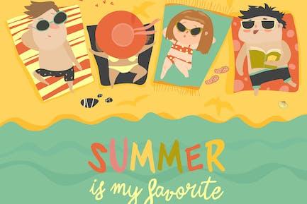 Los niños en la Playa soleada. Verano