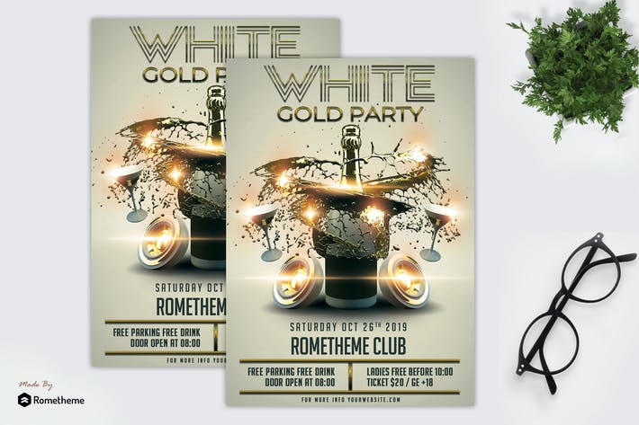 Thumbnail for White Gold Party - Flyer Template MR