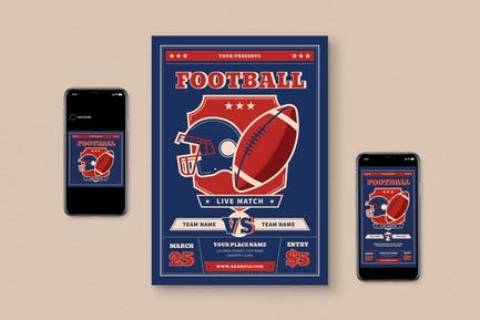 Football Live Match Flyer Set
