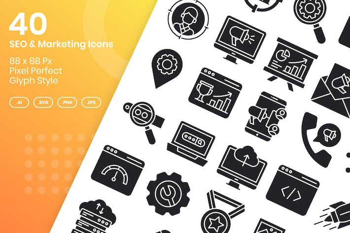 Thumbnail for 40 SEO & Marketing Icons Set - Glyph