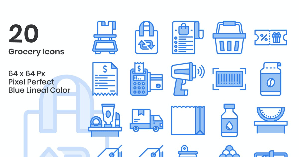 Download 20 Grocery  Icons Set - Blue Lineal Color by kmgdesignid