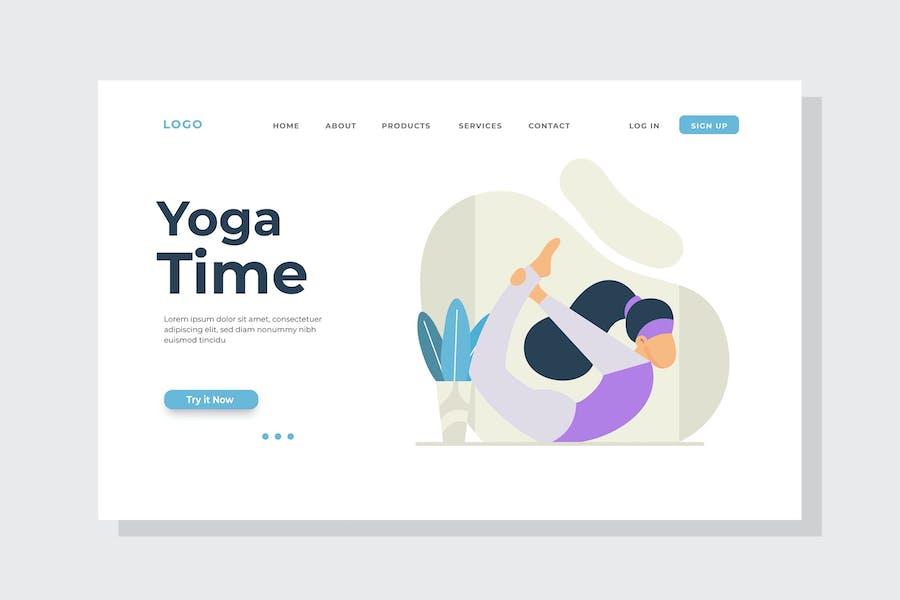 Yoga Time Landing Page Illustration
