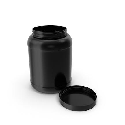 Plastic Bottle Wide Mouth Gallon Black Open