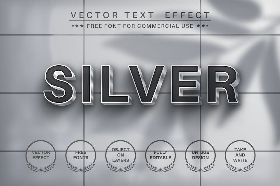 Metal silver - editable text effect,  font style