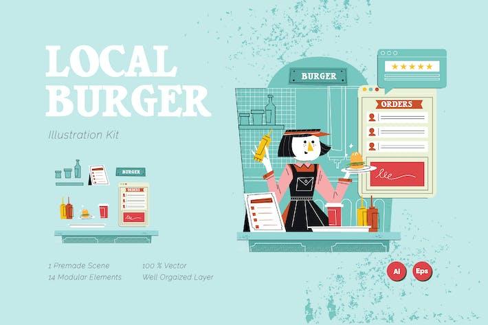 Thumbnail for Local Burger Graphics Illustration