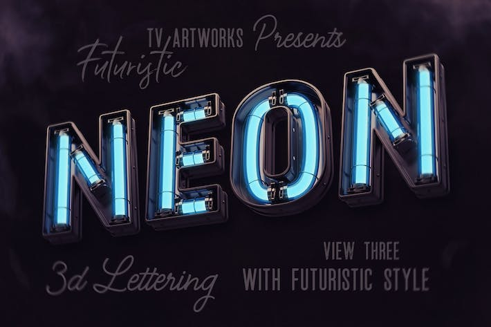 Thumbnail for Futuristic Neon 3D Lettering View 3