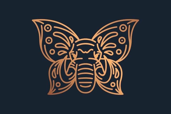 Thumbnail for Illustrationsvorlage Elefant Schmetterling