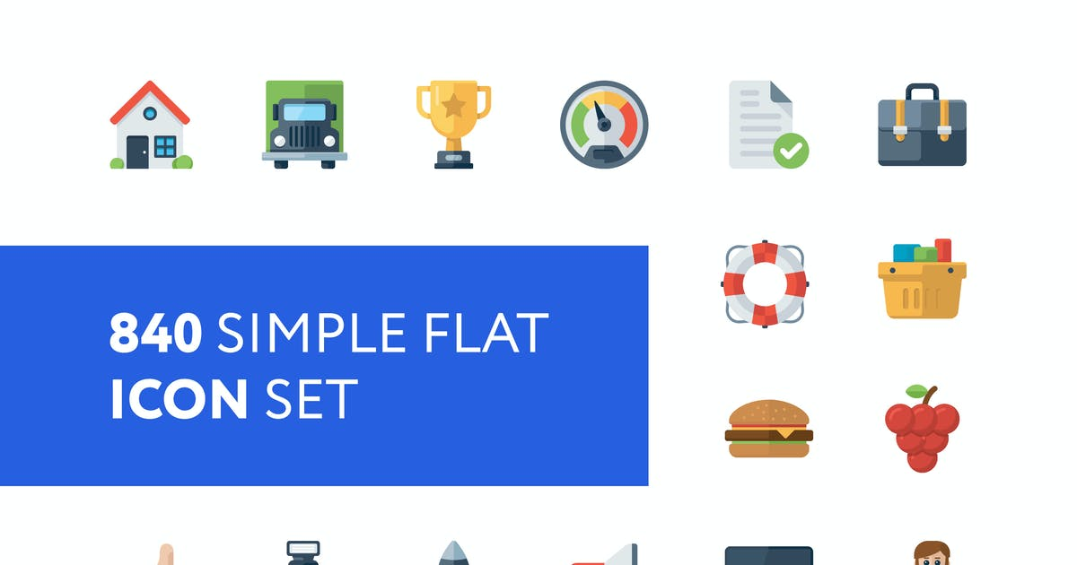Download 840 Simple Flat Icon Set by mir_design