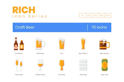 70 Craft Beer Icons - Rich Serie