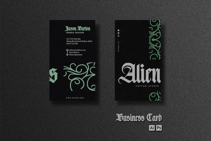 Business Card - Green Monoline Ornaments