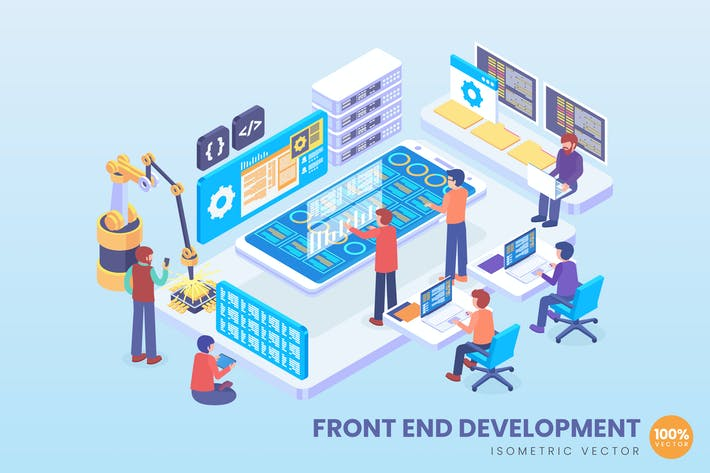 Thumbnail for Isometric Front End Development Vector Concept