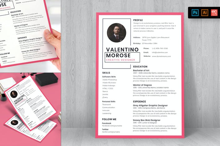 Cover Image For Professional Resume CV Template-25