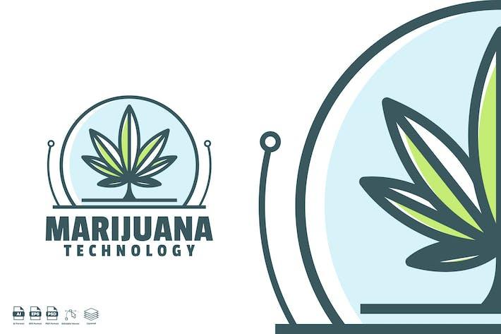 Thumbnail for marijuana technology logo template