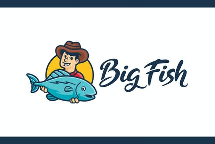 Cartoon Fisherman Character Mascot Logo