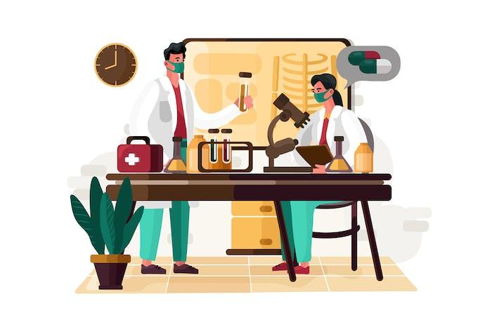 Wissenschaftler macht Recherche Illustration