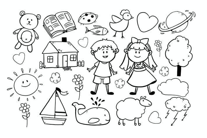 Thumbnail for Children Drawings / 3 different sheets