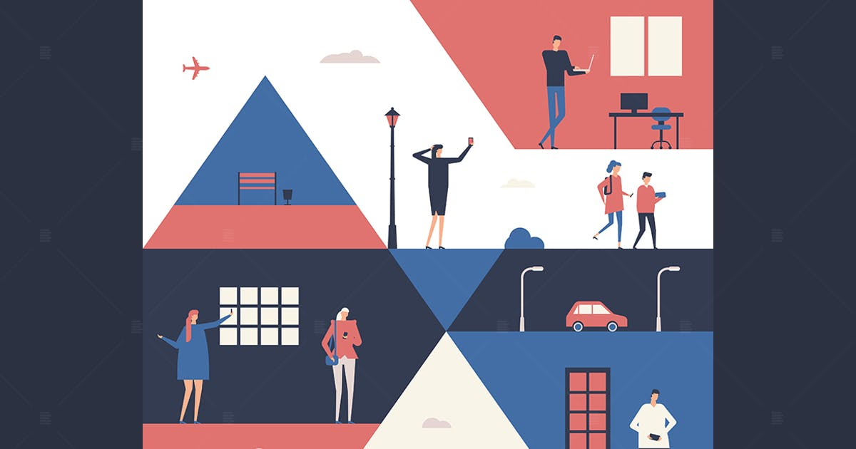 Download People with gadgets - flat design illustration by BoykoPictures