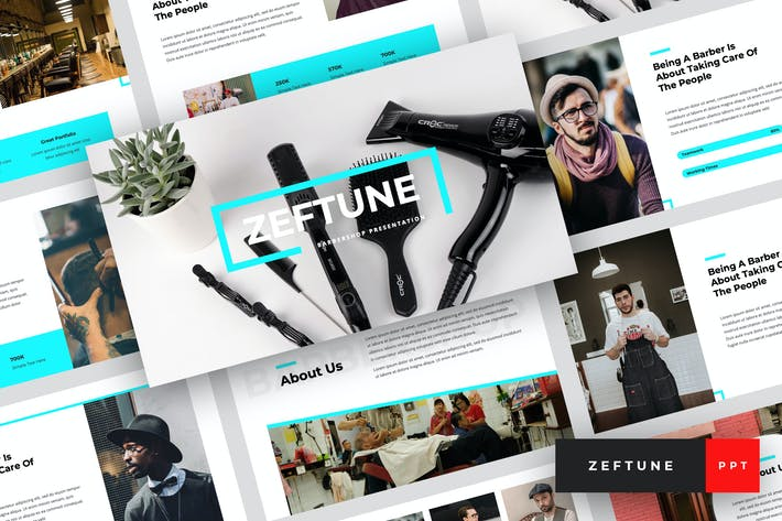Zeftune - Barbershop PowerPoint Template