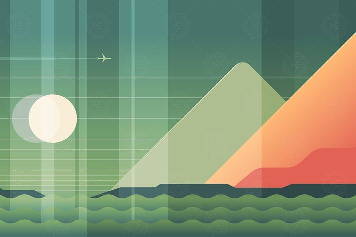 Thumbnail for Mountains, sea and plane landscape - illustration
