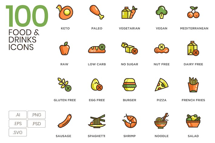 Thumbnail for 100 Food & Drinks Icons - Eco Series