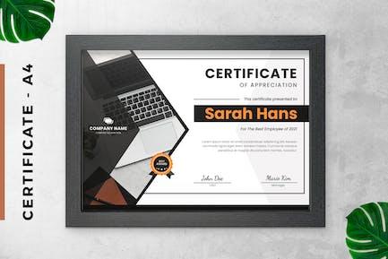 Certificate / Diploma White Black