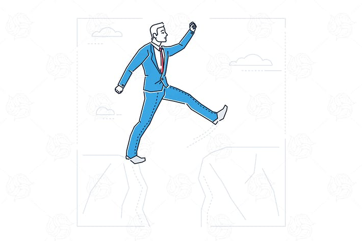 Thumbnail for Determined businessman - line design illustration