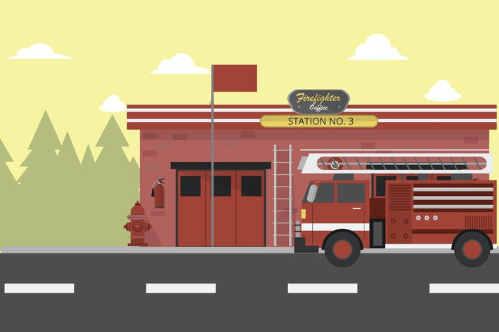 Thumbnail for Firefighter Office - Illustration Background
