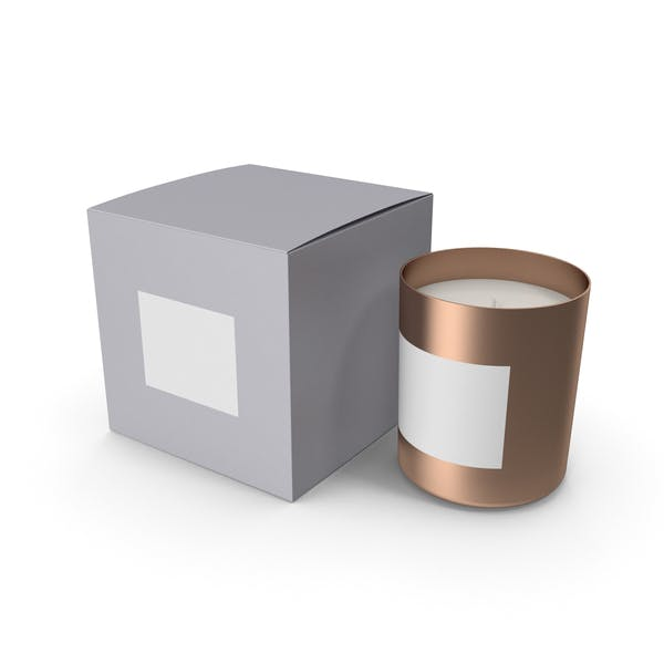 Gold Candle with Gray Box