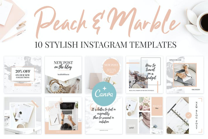 Thumbnail for Canva Instagram Templates. Peach & Marble
