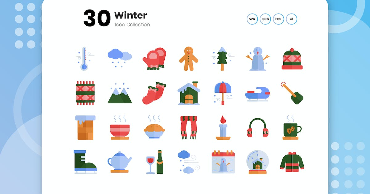 Download 30 Winter Flat Icon by vectorclans