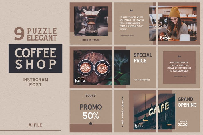 Cover Image For Puzzle Elegant Theme - Coffee Shop Instagram Post