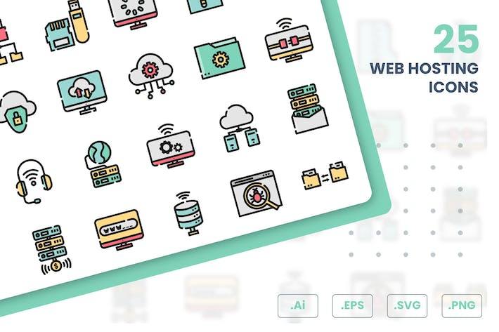 Thumbnail for Web Hosting Icons Set