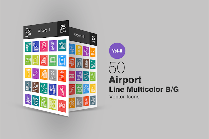 Cover Image For 50 Airport Line Multicolor B/G Icons