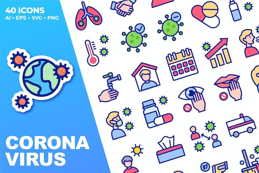 Coronavirus Color Icons
